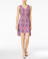 NY Collection Petite Printed High-Low Shift Dress
