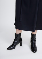 Robert Clergerie black croc embossed elte ankle boot