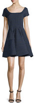 Zac Posen Cap-Sleeve Scoop-Neck Jacquard Cocktail Dress, Blue/Multi