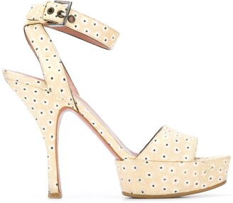 Alaïa Pre-Owned 2000's Half Platform Floral Sandals