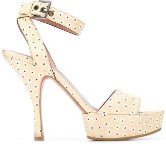 Alaïa Pre Owned 2000's Half Platform Floral Sandals