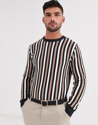 Aray muscle fit vertical stripe crew neck jumper-Black