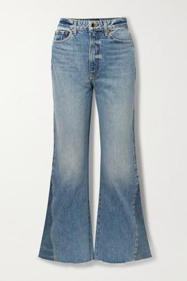 KHAITE Layla Paneled Cropped High-rise Flared Jeans - Mid denim