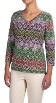 Caribbean Joe Baroque Side-Ruched Shirt - 3/4 Sleeve (For Women)