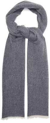 Allude Fringed Cashmere Scarf - Womens - Navy