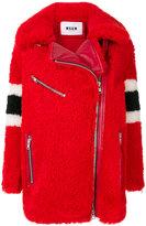 MSGM side zip shearling coat