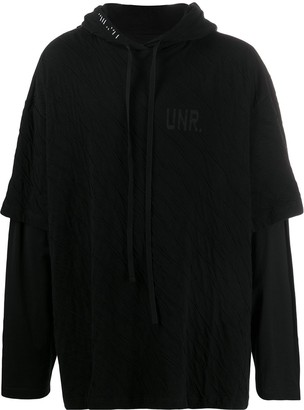 Unravel Project Text-Print Layered Hoodie