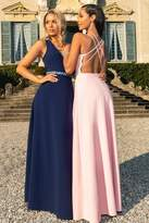 Quiz Pink Embellished Cross Back Maxi