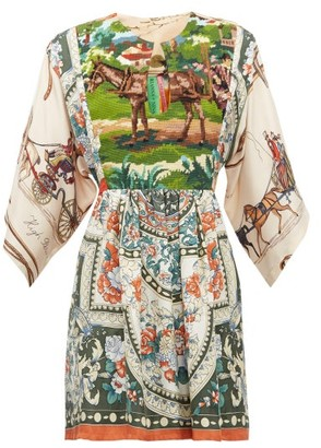 RIANNA + NINA Vintage Patchwork Tapestry-panel Silk Top - Multi