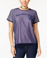 Disney Juniors' Stitch Mesh-Overlay T-Shirt