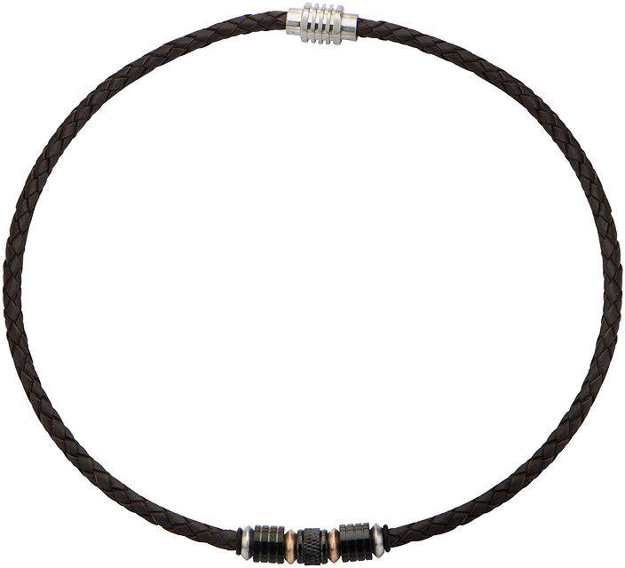 JCPenney FINE JEWELRY Inox Jewelry Mens Two-Tone Stainless Steel & Brown Leather Braided Necklace