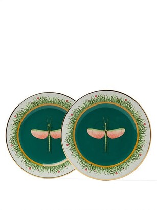 La DoubleJ Set Of Two Libellula Porcelain Dessert Plates - Green Multi