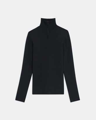 Theory Quarter-Zip Turtleneck in Ribbed Nylon