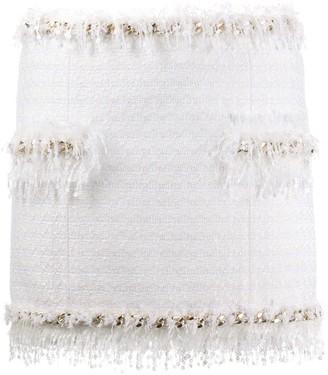 Balmain Tweed Fringe-Trimmed Skirt