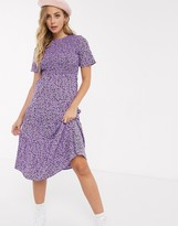 Influence shirred tiered midi dress in lilac ditsy floral print