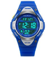 Siniya Kids Boy Girls LED Digital Children Watch Outdoor Sports Waterproof watch blue