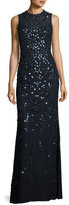 Jenny Packham Floral-Sequin Sleeveless Jewel-Neck Gown, Dark Navy