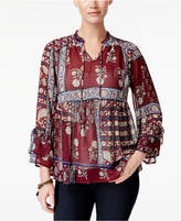 Style and Co Petite Printed Peasant Top, Only at Macy's