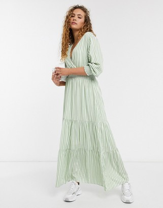 Selected maxi smock dress in green and white stripe