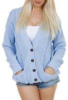 Purple Hanger Women's Long Sleeve Cable Knit Knitted Boyfriend Cardigan 12-14