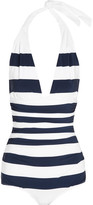 Dolce & Gabbana Ruched Striped Halterneck Swimsuit - Navy