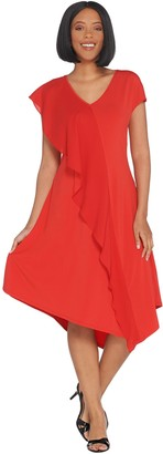 Halston H by Petite Jet Set Jersey Mixed Media Midi Dress