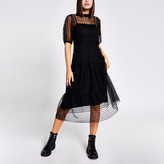 River Island Black stripe mesh short sleeve midi dress