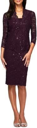 Alex Evenings Tea Length Lace Jacket Dress