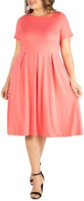 24/7 Comfort Pleated Pocket Midi Dress (Plus Size)