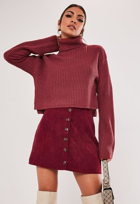 Missguided Tall Red Cord Button A Line Skirt