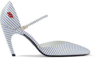 Roger Vivier Choc Real Logo-appliqued Striped Textured-leather Pumps