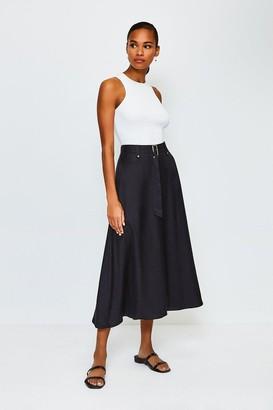 Karen Millen Linen Mix Belted Skirt