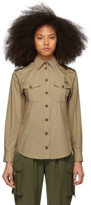 Dolce & Gabbana Tan Poplin Oversized Safari Shirt