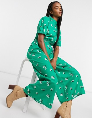 ASOS DESIGN jersey high neck frill tea jumpsuit with buttons in green floral
