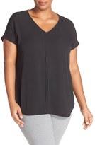 Sejour Plus Size Women's Pleat Front Short Sleeve Top
