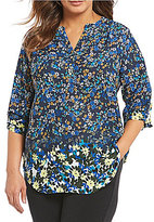 Investments Plus Y Neck 3/4 Sleeve Roll Tab Blouse