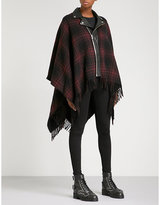 The Kooples Checked wool-blend poncho