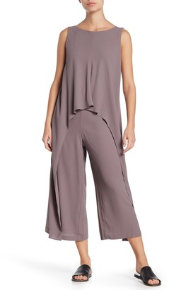 Eileen Fisher Bateau Neck Silk Jumpsuit (Petite)