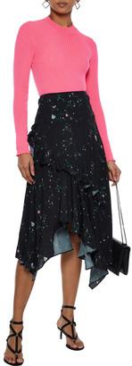 Preen Line Electra Asymmetric Floral-print Crepe De Chine Skirt