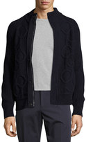 Salvatore Ferragamo Gancini Cable-Knit Wool-Cashmere Zip-Front Sweater, Navy