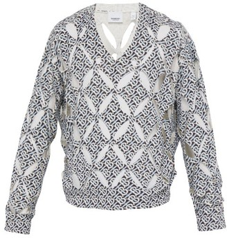 Burberry Monogram Print Cut Out Silk Sweater - Mens - Blue