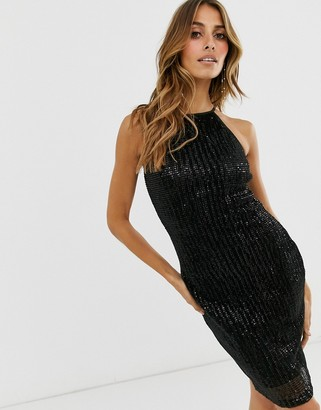 Paper Dolls pleat sequin halter dress-Black