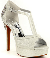 Gianni Bini Glitter Jewel Ornament Platform Dress Sandals