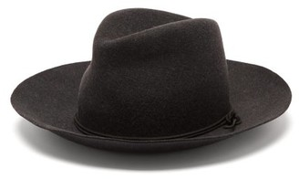 Isabel Marant Kinly Leather-trimmed Wool-felt Fedora Hat - Grey