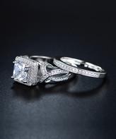 Barzel Women's Rings Silver - Cubic Zirconia & Silvertone Eternity Engagement Ring Set