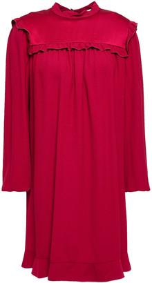 RED Valentino Satin-paneled Crepe De Chine Mini Dress