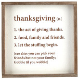 Mud Pie White Thanksgiving Definition Plaque