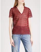 Sandro Geometric-lace sheer top