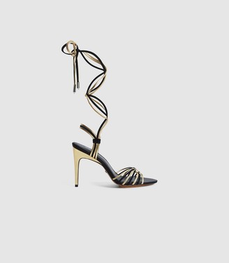 Reiss CASSIDY STRAPPY HIGH HEELED SANDALS Gold