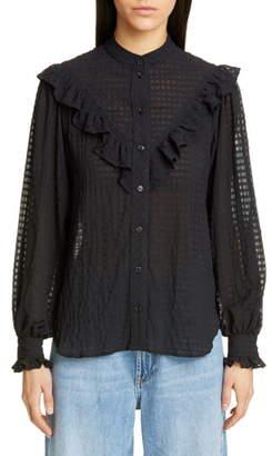 Ganni Ruffle Detail Seersucker Shirt